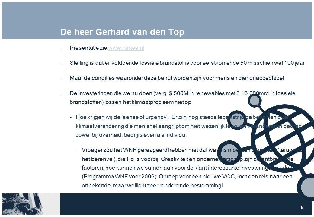 6 De heer Gerhard van den Top  Presentatie zie www.nintes.nlwww.nintes.nl  Stelling is dat er voldoende fossiele brandstof is voor eerstkomende 50 misschien wel 100 jaar  Maar de condities waaronder deze benut worden zijn voor mens en dier onacceptabel  De investeringen die we nu doen (verg.