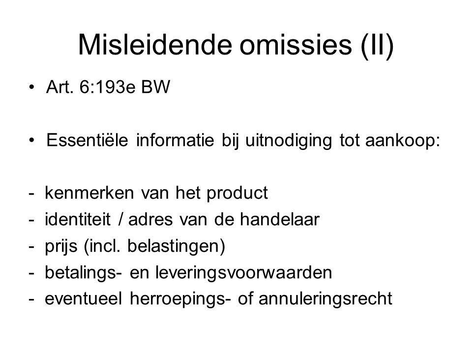 Misleidende omissies (II) Art.