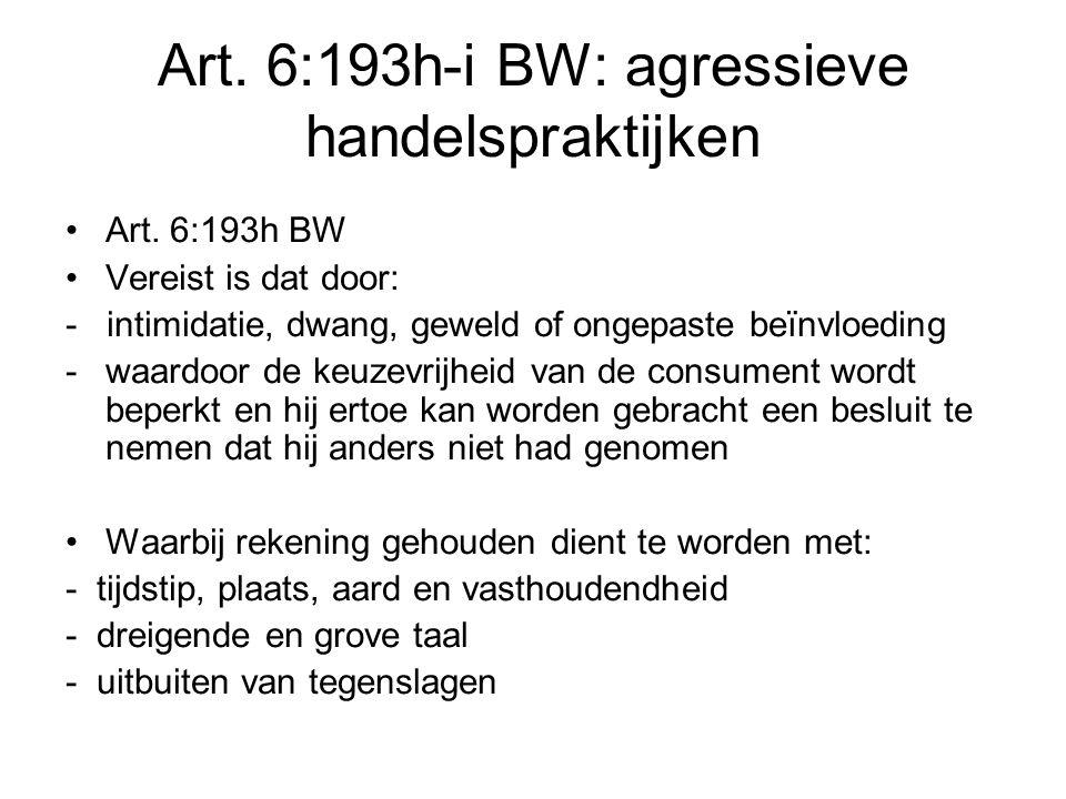 Art. 6:193h-i BW: agressieve handelspraktijken Art.