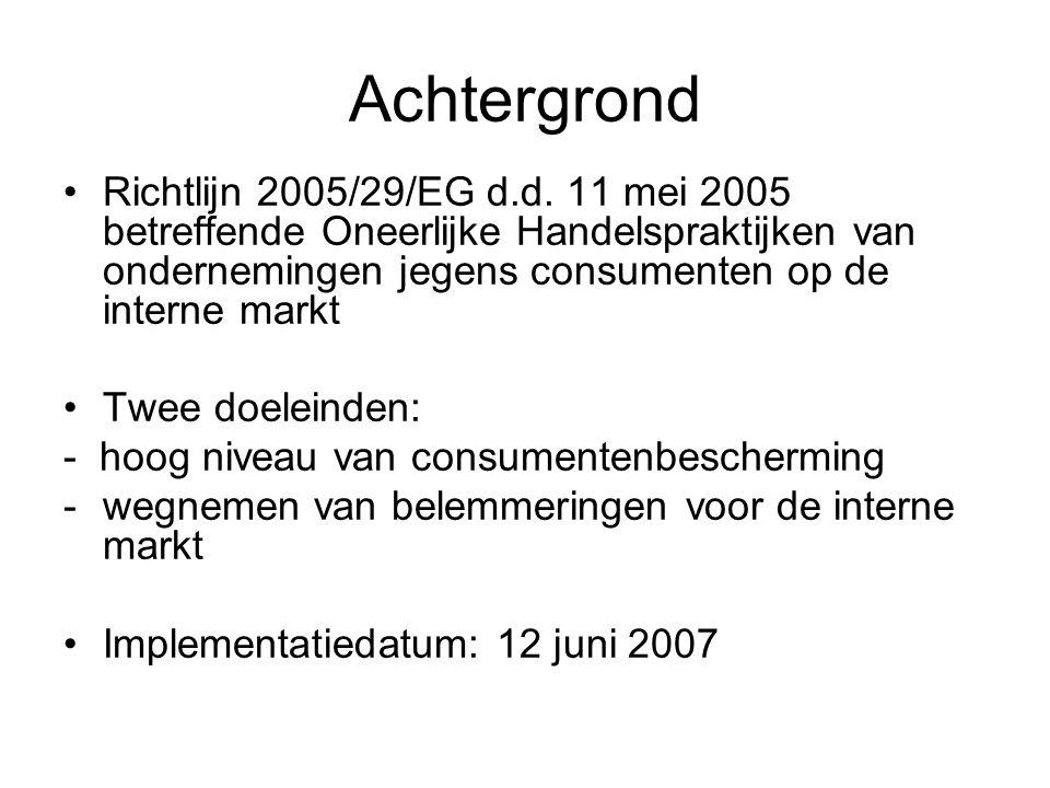 Achtergrond Richtlijn 2005/29/EG d.d.