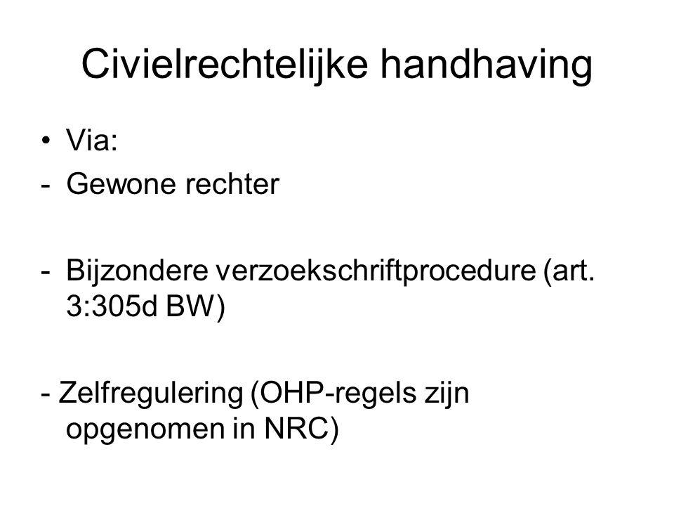 Civielrechtelijke handhaving Via: -Gewone rechter -Bijzondere verzoekschriftprocedure (art.