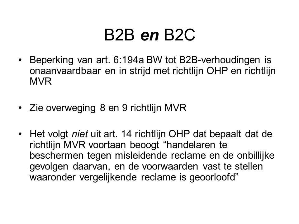 B2B en B2C Beperking van art.