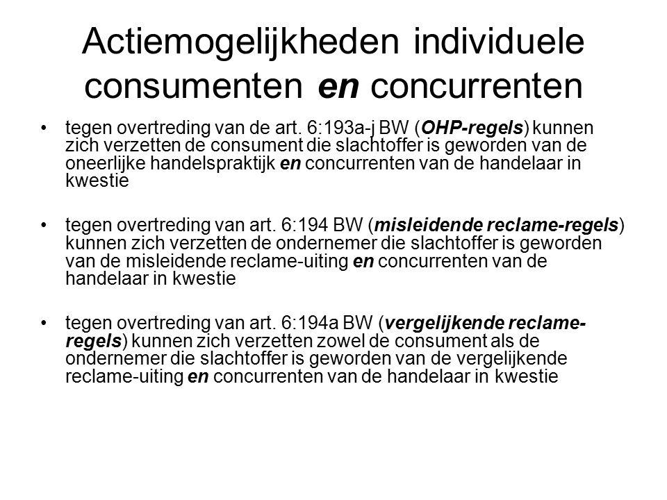 Actiemogelijkheden individuele consumenten en concurrenten tegen overtreding van de art.