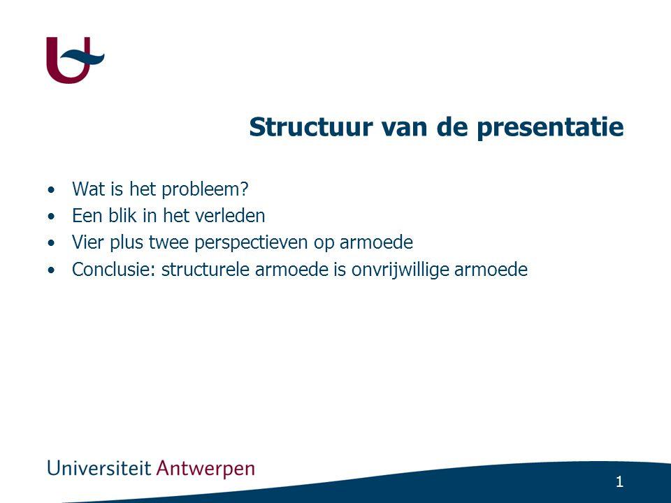 1 Structuur van de presentatie Wat is het probleem? Een blik in het verleden Vier plus twee perspectieven op armoede Conclusie: structurele armoede is
