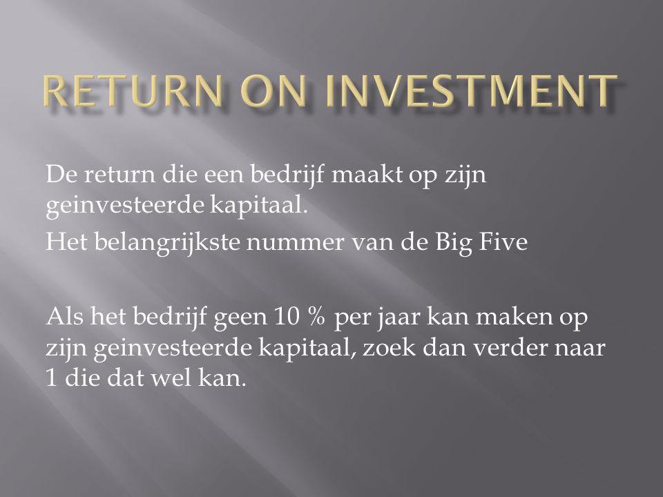 De return die een bedrijf maakt op zijn geinvesteerde kapitaal.