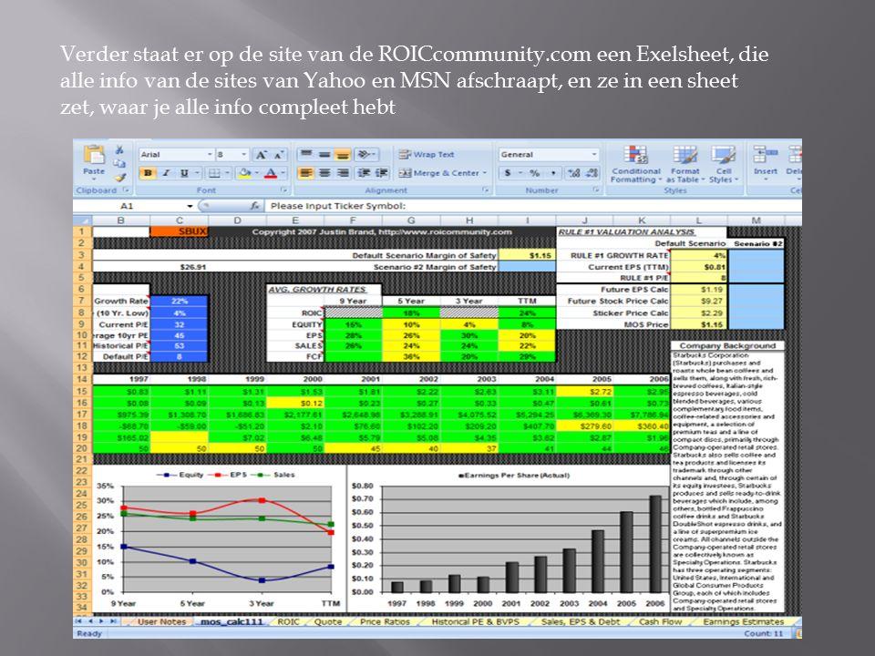 Verder staat er op de site van de ROICcommunity.com een Exelsheet, die alle info van de sites van Yahoo en MSN afschraapt, en ze in een sheet zet, waar je alle info compleet hebt