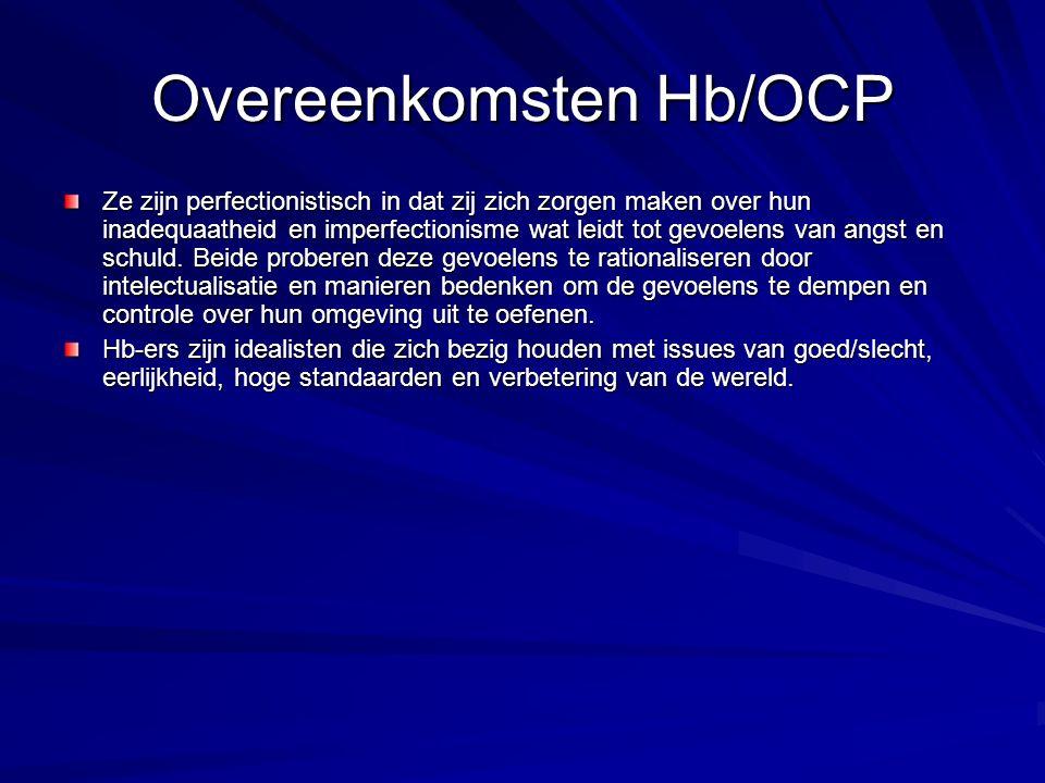 Overeenkomsten Hb/OCP Ze zijn perfectionistisch in dat zij zich zorgen maken over hun inadequaatheid en imperfectionisme wat leidt tot gevoelens van a