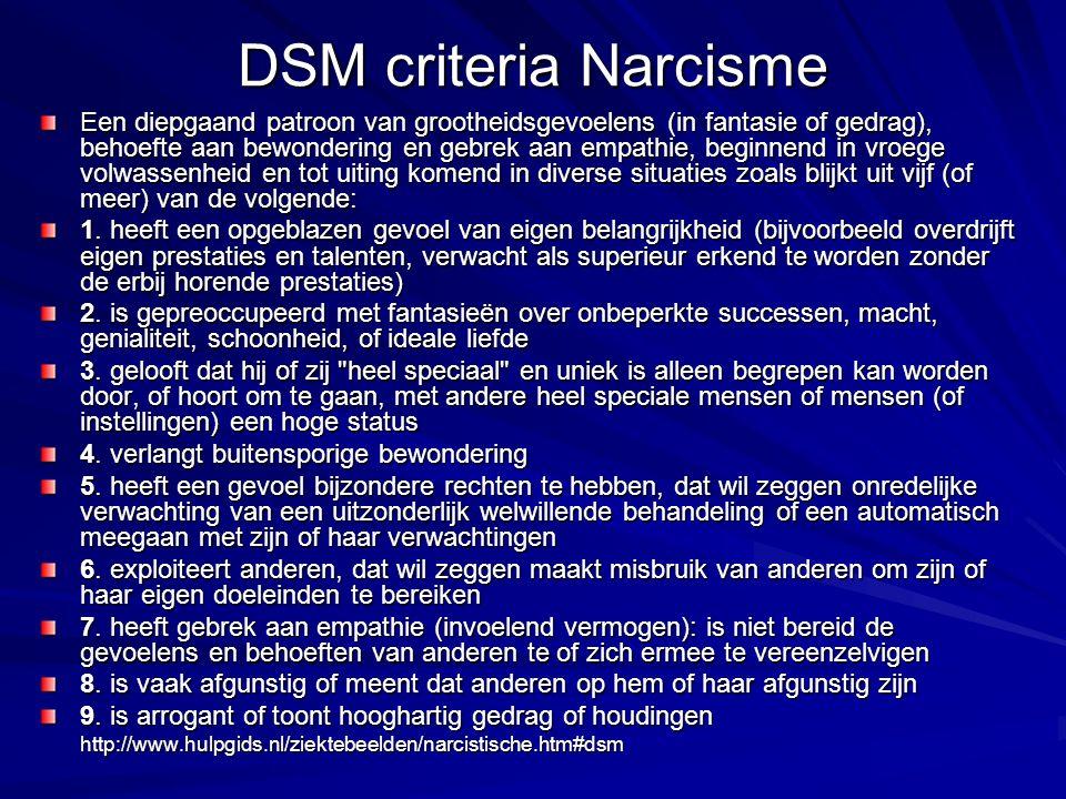 DSM criteria Narcisme Een diepgaand patroon van grootheidsgevoelens (in fantasie of gedrag), behoefte aan bewondering en gebrek aan empathie, beginnend in vroege volwassenheid en tot uiting komend in diverse situaties zoals blijkt uit vijf (of meer) van de volgende: 1.