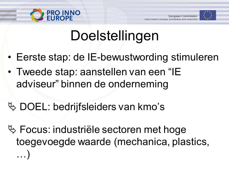 Doelstellingen Eerste stap: de IE-bewustwording stimuleren Tweede stap: aanstellen van een IE adviseur binnen de onderneming  DOEL: bedrijfsleiders van kmo's  Focus: industriële sectoren met hoge toegevoegde waarde (mechanica, plastics, …)