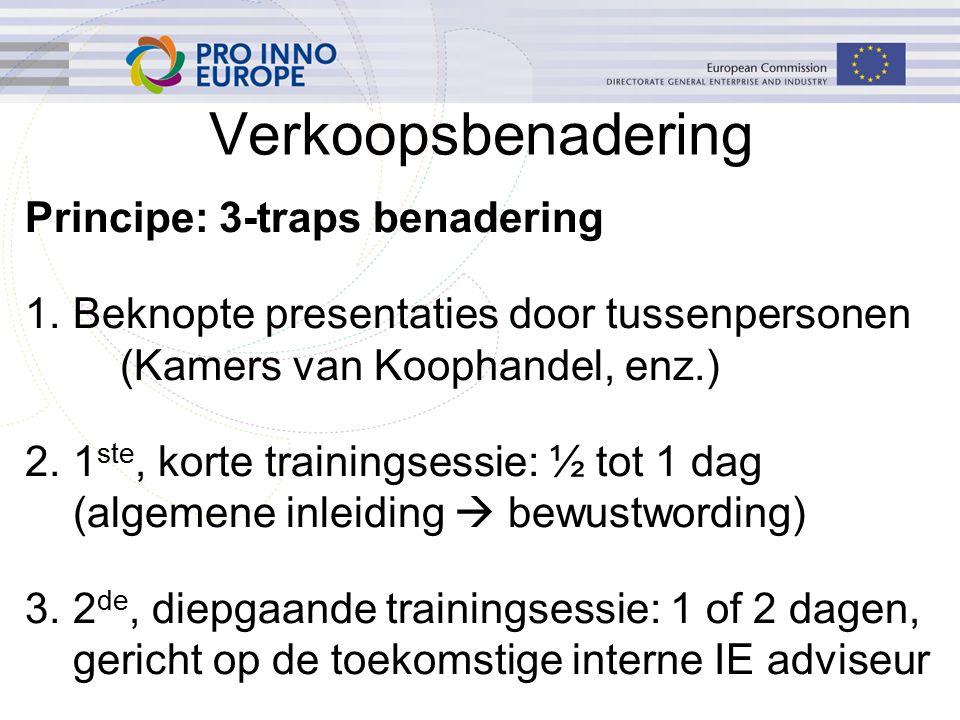 Verkoopsbenadering Principe: 3-traps benadering 1.Beknopte presentaties door tussenpersonen (Kamers van Koophandel, enz.) 2.1 ste, korte trainingsessie: ½ tot 1 dag (algemene inleiding  bewustwording) 3.2 de, diepgaande trainingsessie: 1 of 2 dagen, gericht op de toekomstige interne IE adviseur