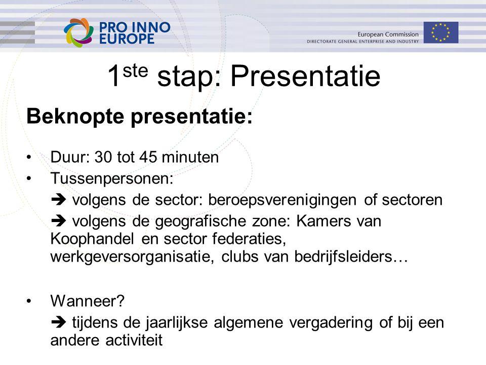 1 ste stap: Presentatie Beknopte presentatie: Duur: 30 tot 45 minuten Tussenpersonen:  volgens de sector: beroepsverenigingen of sectoren  volgens d