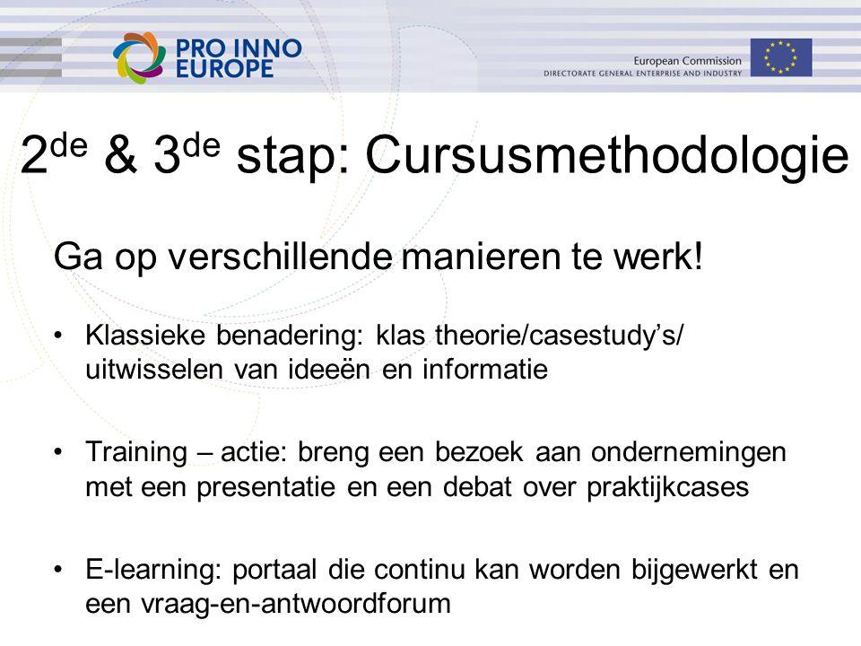 2 de & 3 de stap: Cursusmethodologie Ga op verschillende manieren te werk! Klassieke benadering: klas theorie/casestudy's/ uitwisselen van ideeën en i