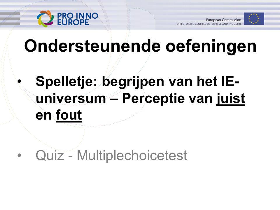 Ondersteunende oefeningen Spelletje: begrijpen van het IE- universum – Perceptie van juist en fout Quiz - Multiplechoicetest