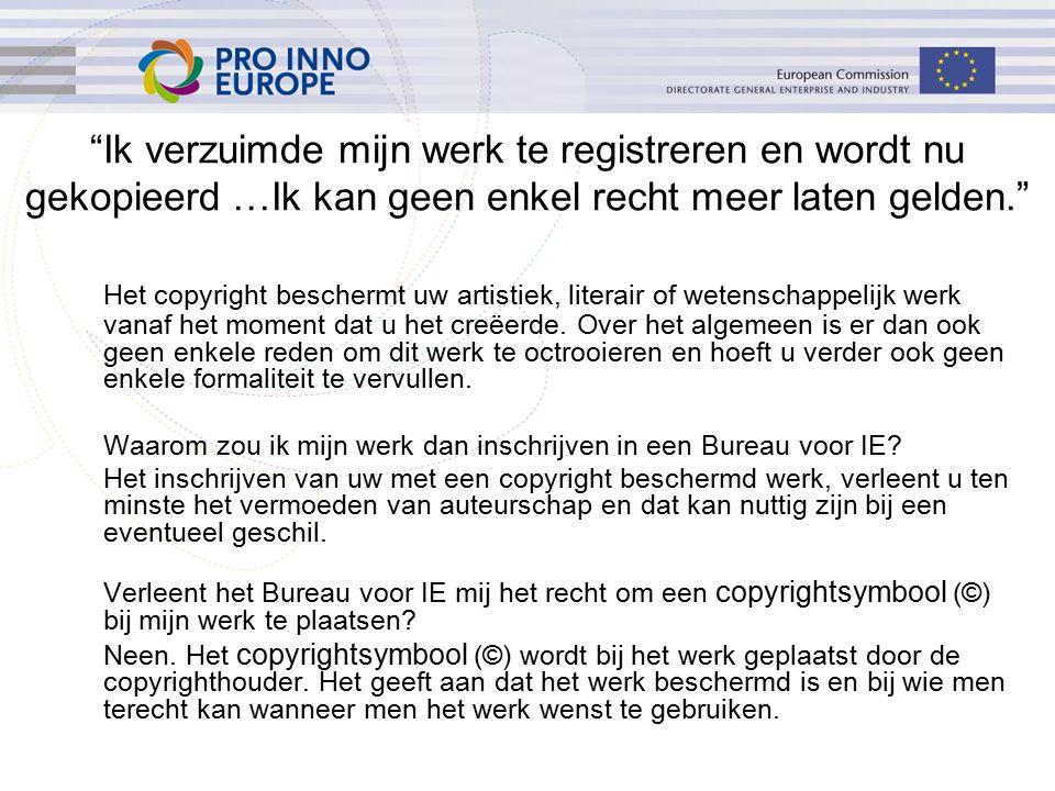 Ik verzuimde mijn werk te registreren en wordt nu gekopieerd …Ik kan geen enkel recht meer laten gelden. Het copyright beschermt uw artistiek, literair of wetenschappelijk werk vanaf het moment dat u het creëerde.
