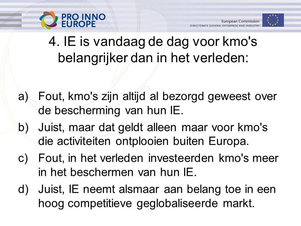a)Fout, kmo's zijn altijd al bezorgd geweest over de bescherming van hun IE. b)Juist, maar dat geldt alleen maar voor kmo's die activiteiten ontplooie