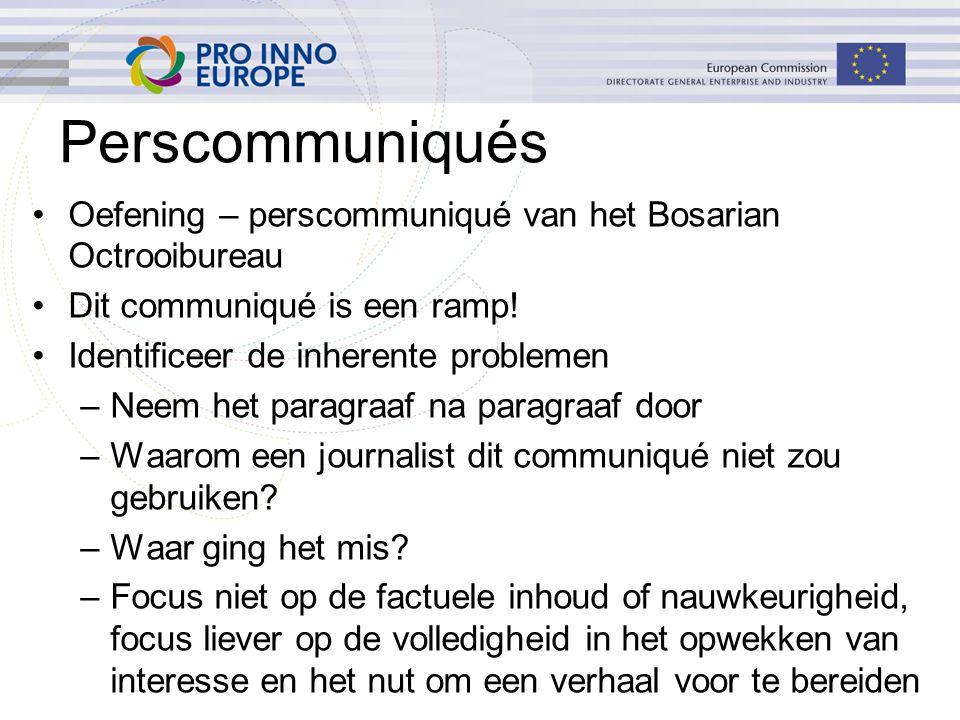 Perscommuniqués Oefening – perscommuniqué van het Bosarian Octrooibureau Dit communiqué is een ramp.