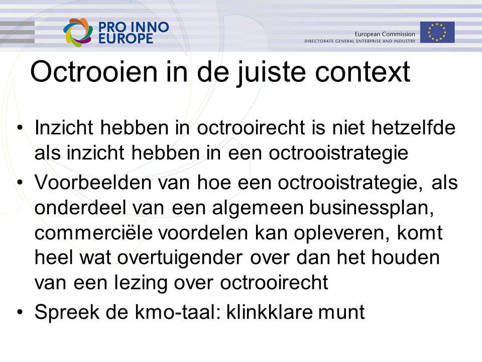 Octrooien in de juiste context Inzicht hebben in octrooirecht is niet hetzelfde als inzicht hebben in een octrooistrategie Voorbeelden van hoe een oct