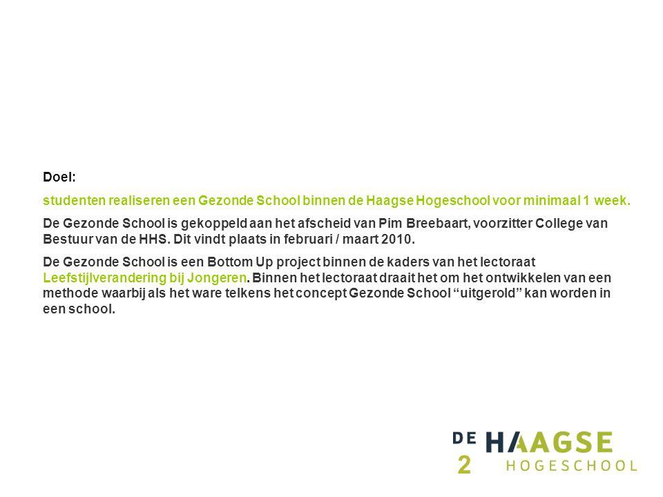 Doel: studenten realiseren een Gezonde School binnen de Haagse Hogeschool voor minimaal 1 week.