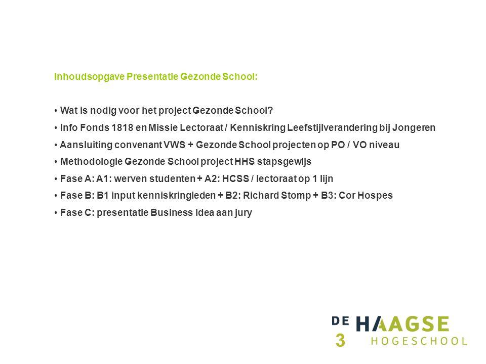Inhoudsopgave Presentatie Gezonde School: Wat is nodig voor het project Gezonde School.