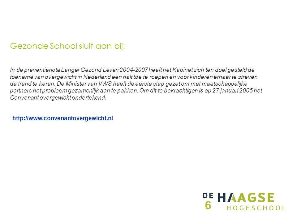 http://www.convenantovergewicht.nl In de preventienota Langer Gezond Leven 2004-2007 heeft het Kabinet zich ten doel gesteld de toename van overgewicht in Nederland een halt toe te roepen en voor kinderen ernaar te streven de trend te keren.