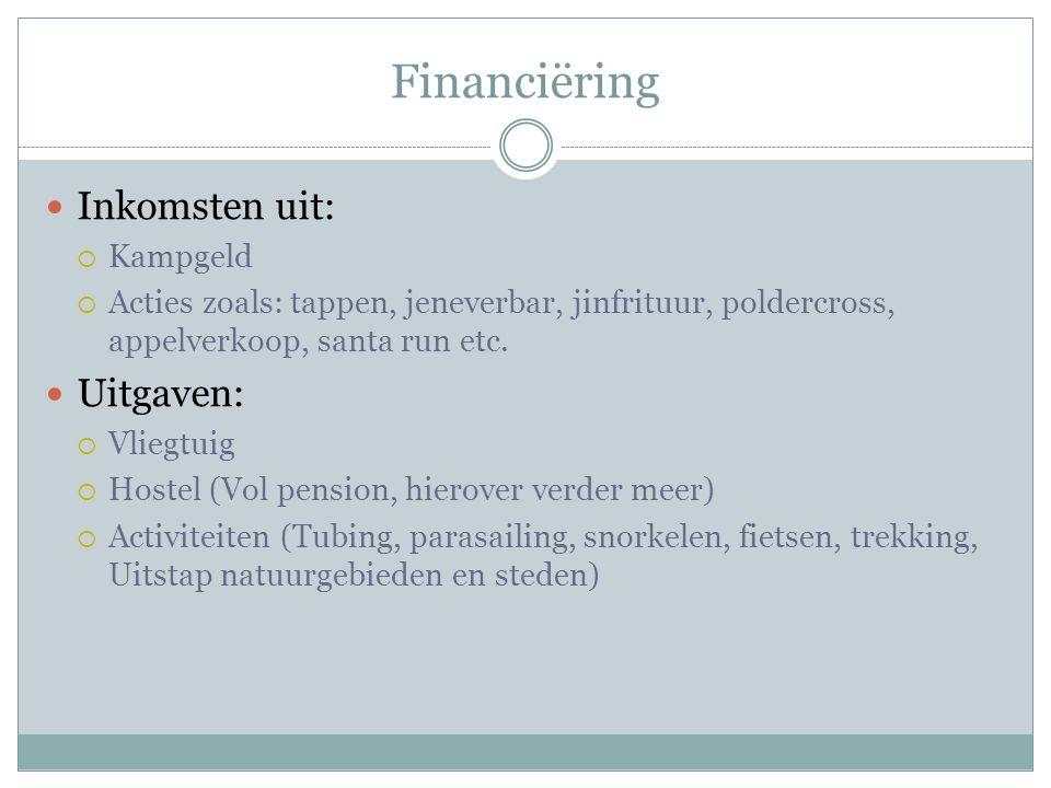 Financiëring Inkomsten uit:  Kampgeld  Acties zoals: tappen, jeneverbar, jinfrituur, poldercross, appelverkoop, santa run etc.