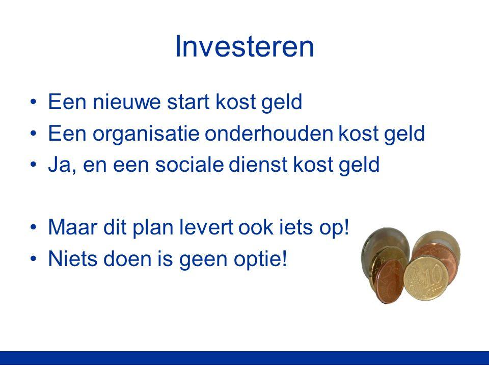 Investeren Een nieuwe start kost geld Een organisatie onderhouden kost geld Ja, en een sociale dienst kost geld Maar dit plan levert ook iets op.