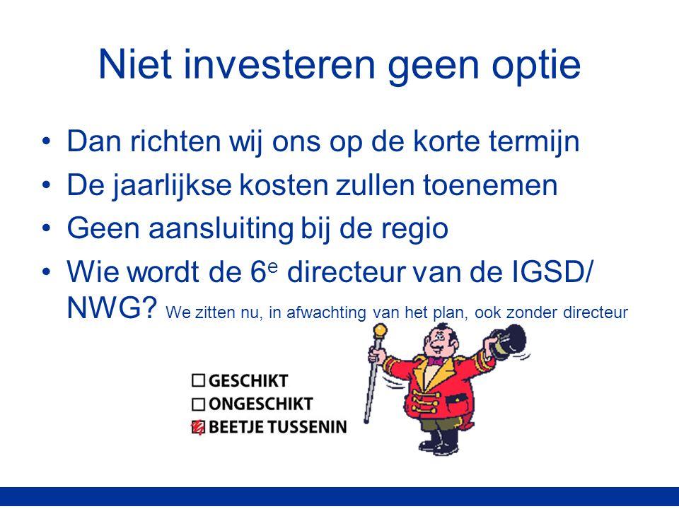 Niet investeren geen optie Dan richten wij ons op de korte termijn De jaarlijkse kosten zullen toenemen Geen aansluiting bij de regio Wie wordt de 6 e directeur van de IGSD/ NWG.
