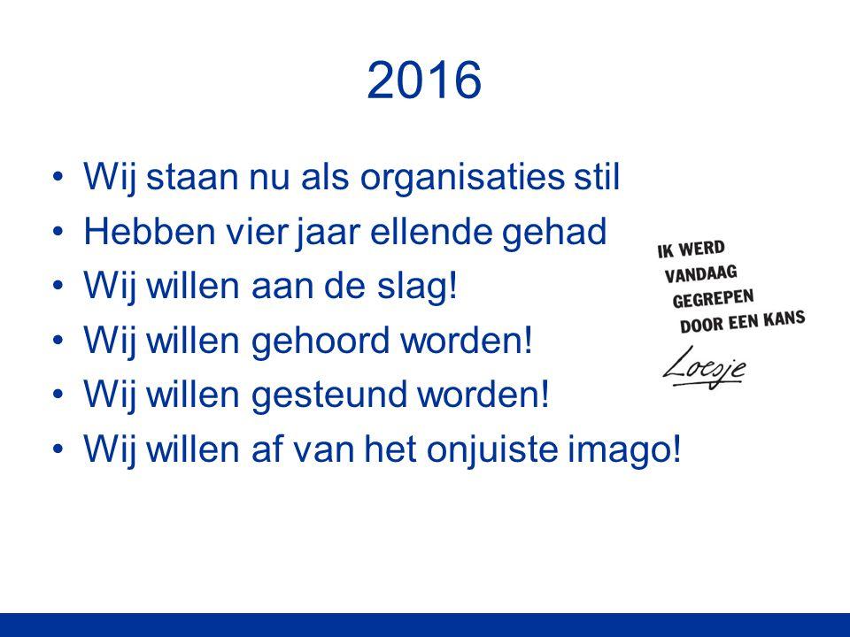 2016 Wij staan nu als organisaties stil Hebben vier jaar ellende gehad Wij willen aan de slag.