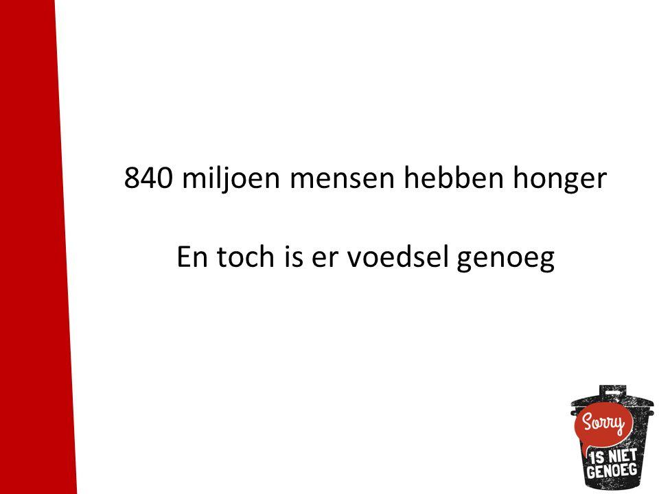 840 miljoen mensen hebben honger En toch is er voedsel genoeg