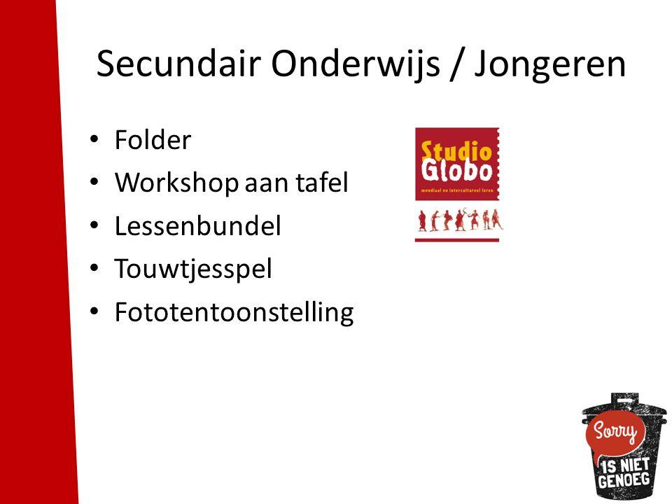 Secundair Onderwijs / Jongeren Folder Workshop aan tafel Lessenbundel Touwtjesspel Fototentoonstelling