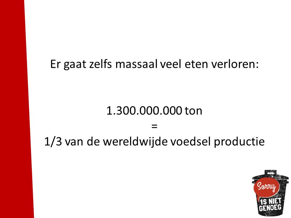 Er gaat zelfs massaal veel eten verloren: 1.300.000.000 ton = 1/3 van de wereldwijde voedsel productie