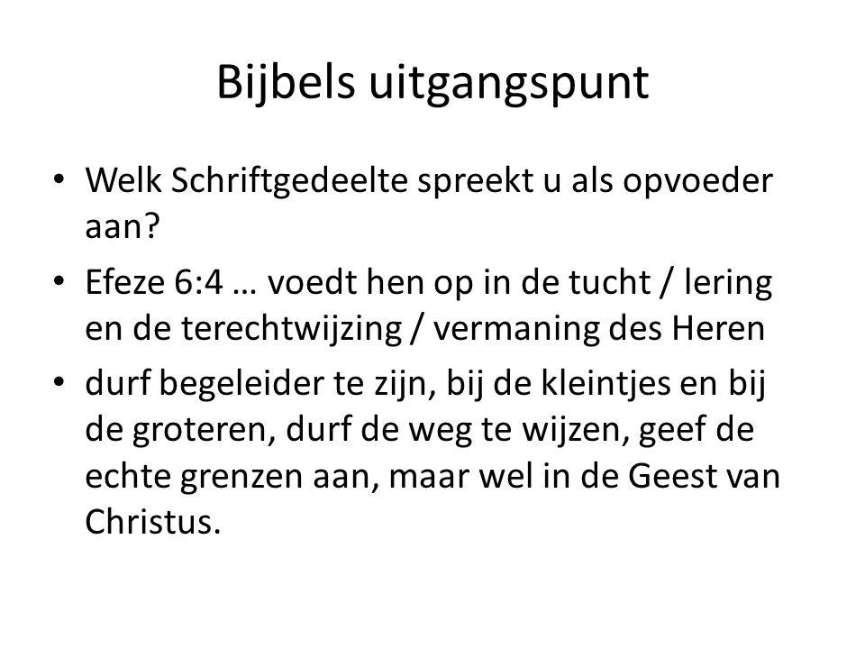 Bijbels uitgangspunt Welk Schriftgedeelte spreekt u als opvoeder aan? Efeze 6:4 … voedt hen op in de tucht / lering en de terechtwijzing / vermaning d