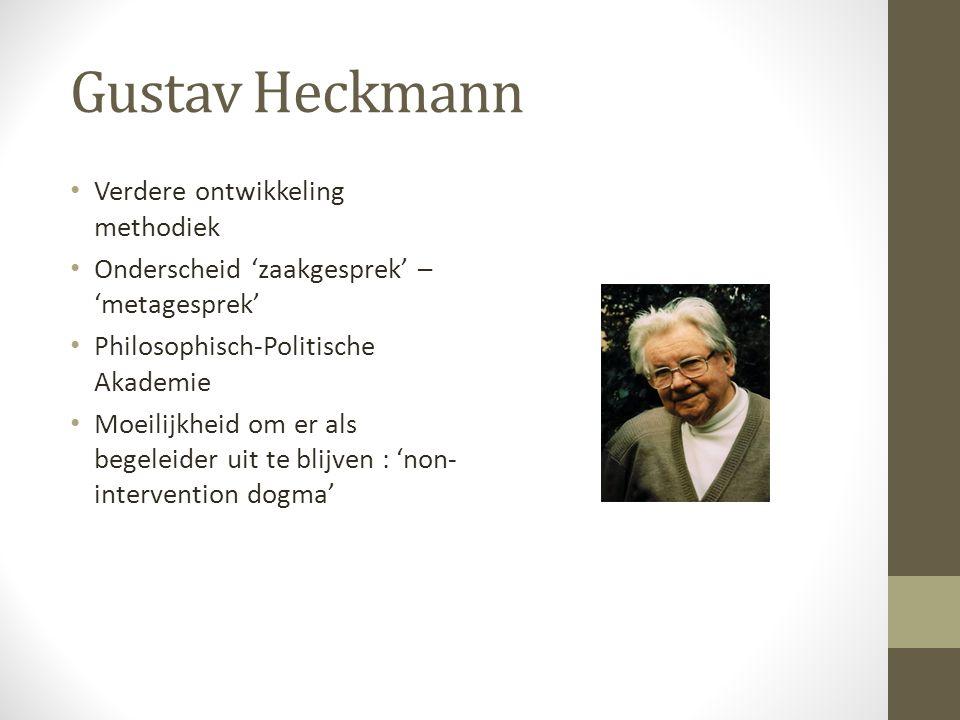 Gustav Heckmann Verdere ontwikkeling methodiek Onderscheid 'zaakgesprek' – 'metagesprek' Philosophisch-Politische Akademie Moeilijkheid om er als begeleider uit te blijven : 'non- intervention dogma'