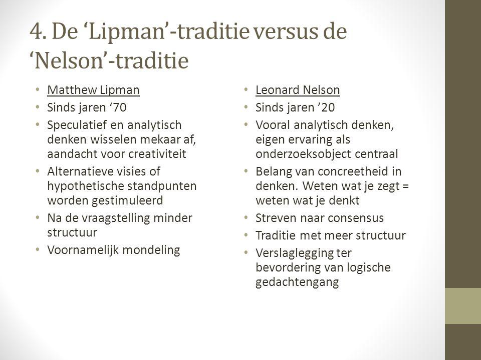 4. De 'Lipman'-traditie versus de 'Nelson'-traditie Matthew Lipman Sinds jaren '70 Speculatief en analytisch denken wisselen mekaar af, aandacht voor