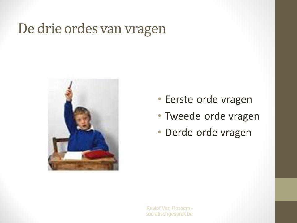 De drie ordes van vragen Eerste orde vragen Tweede orde vragen Derde orde vragen Kristof Van Rossem - socratischgesprek.be
