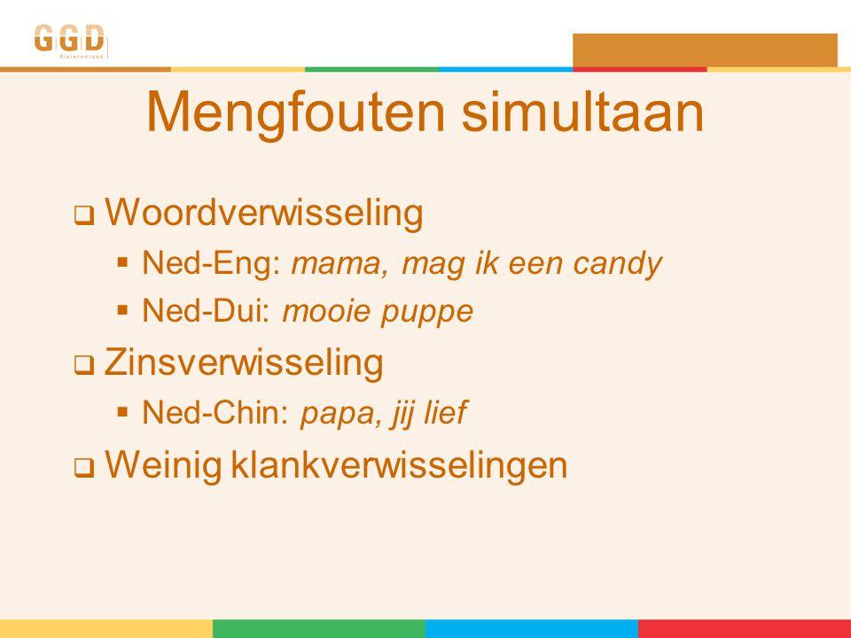 Mengfouten simultaan  Woordverwisseling  Ned-Eng: mama, mag ik een candy  Ned-Dui: mooie puppe  Zinsverwisseling  Ned-Chin: papa, jij lief  Weinig klankverwisselingen