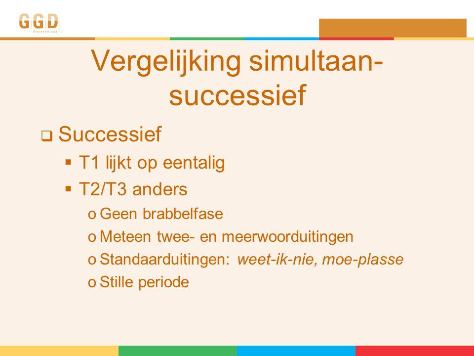 Vergelijking simultaan- successief  Successief  T1 lijkt op eentalig  T2/T3 anders oGeen brabbelfase oMeteen twee- en meerwoorduitingen oStandaarduitingen: weet-ik-nie, moe-plasse oStille periode