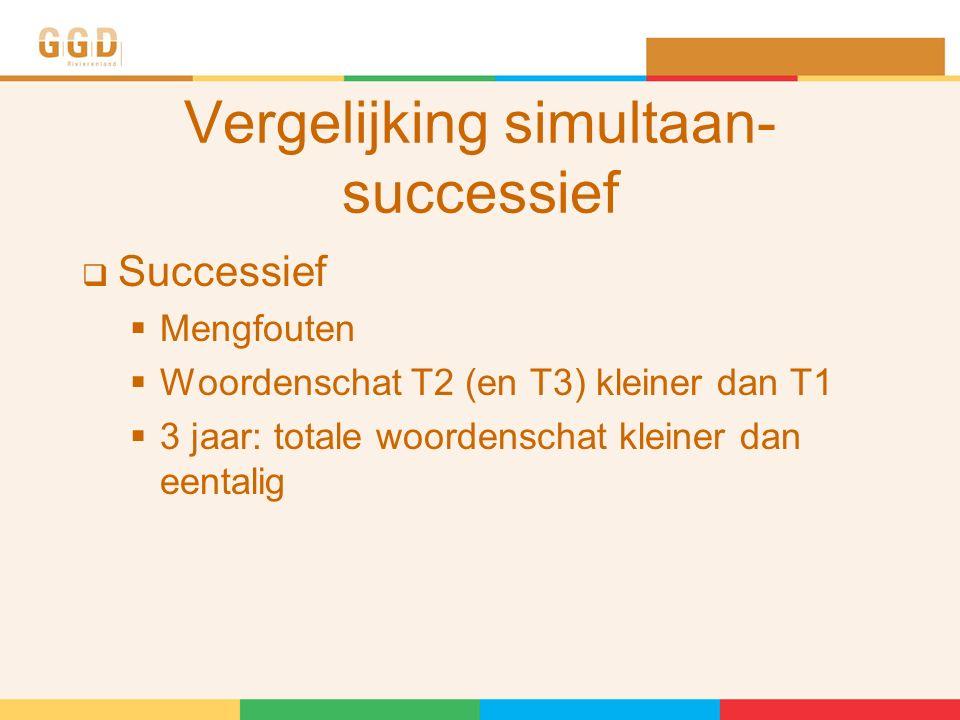 Vergelijking simultaan- successief  Successief  Mengfouten  Woordenschat T2 (en T3) kleiner dan T1  3 jaar: totale woordenschat kleiner dan eentalig