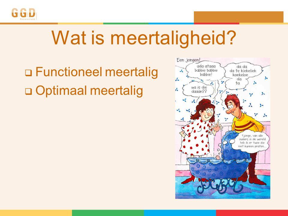 Wat is meertaligheid?  Functioneel meertalig  Optimaal meertalig