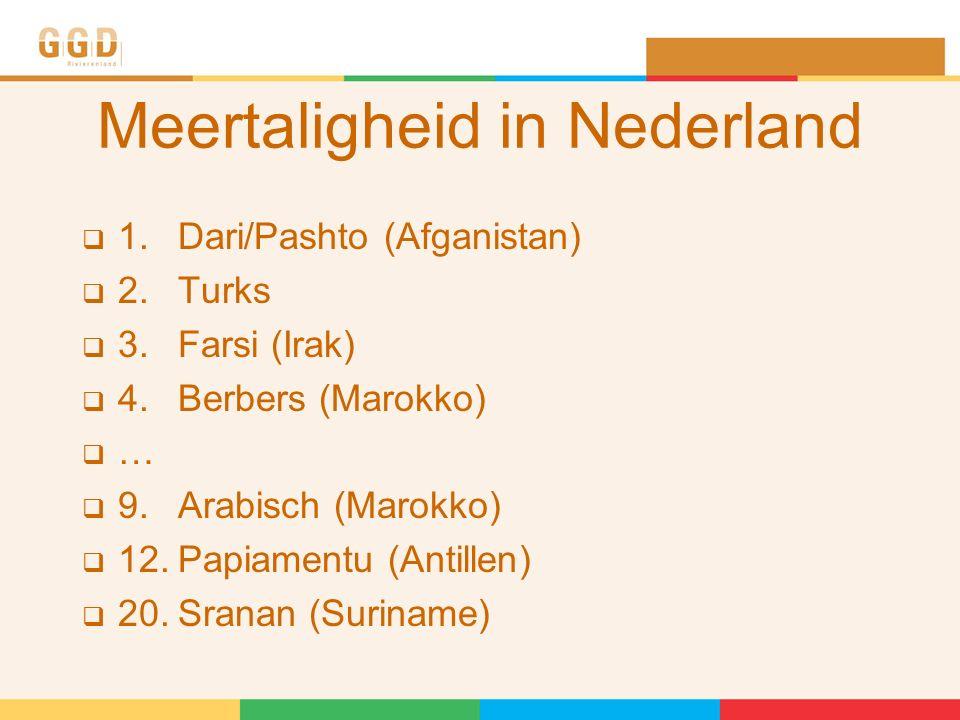 Meertaligheid in Nederland  1. Dari/Pashto (Afganistan)  2.