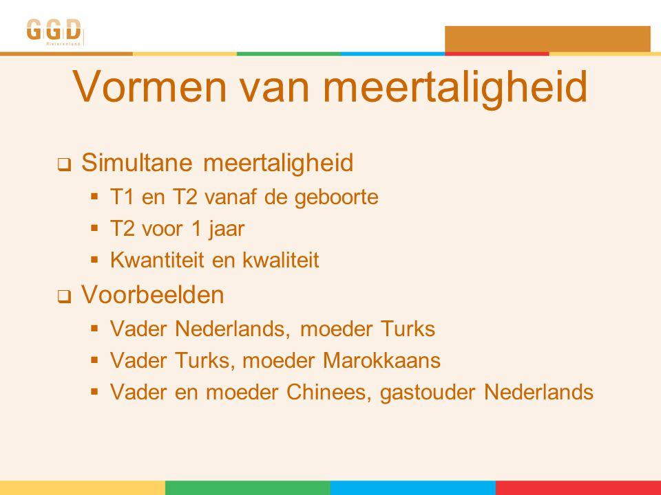 Vormen van meertaligheid  Simultane meertaligheid  T1 en T2 vanaf de geboorte  T2 voor 1 jaar  Kwantiteit en kwaliteit  Voorbeelden  Vader Nederlands, moeder Turks  Vader Turks, moeder Marokkaans  Vader en moeder Chinees, gastouder Nederlands