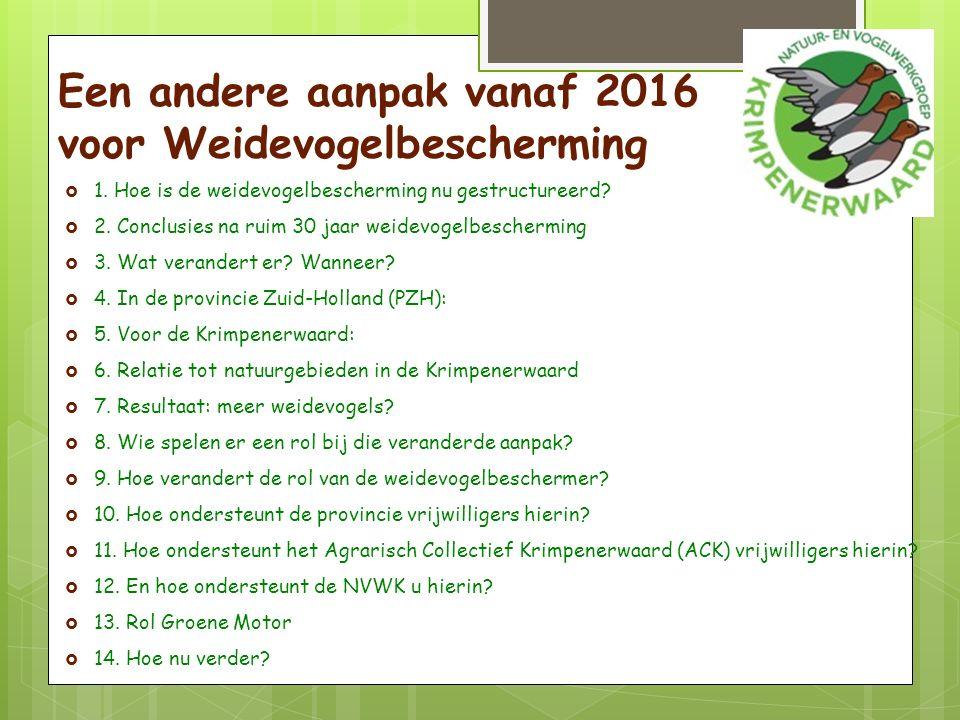 Hoe is Weidevogelbescherming nu gestructureerd. Financiering vanuit de EG, Brussel.