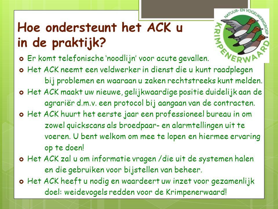 Hoe ondersteunt het ACK u in de praktijk.  Er komt telefonische 'noodlijn' voor acute gevallen.