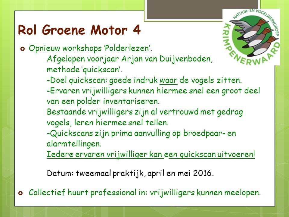 Rol Groene Motor 4  Opnieuw workshops 'Polderlezen'.