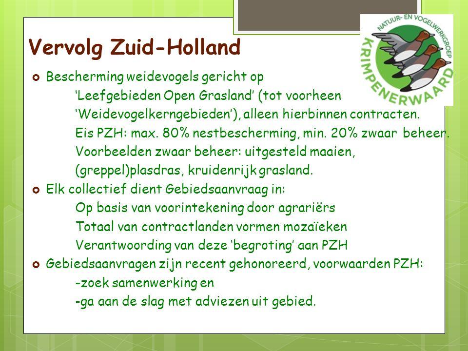 Vervolg Zuid-Holland  Bescherming weidevogels gericht op 'Leefgebieden Open Grasland' (tot voorheen 'Weidevogelkerngebieden'), alleen hierbinnen contracten.