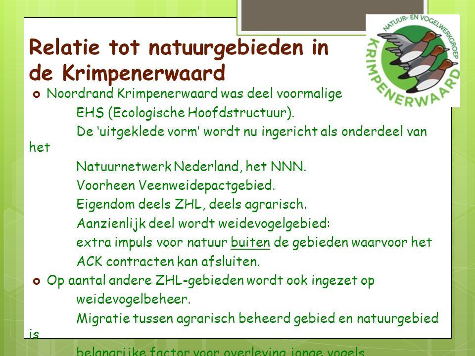 Relatie tot natuurgebieden in de Krimpenerwaard  Noordrand Krimpenerwaard was deel voormalige EHS (Ecologische Hoofdstructuur).