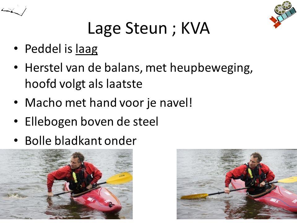 Lage Steun ; KVA Peddel is laag Herstel van de balans, met heupbeweging, hoofd volgt als laatste Macho met hand voor je navel! Ellebogen boven de stee
