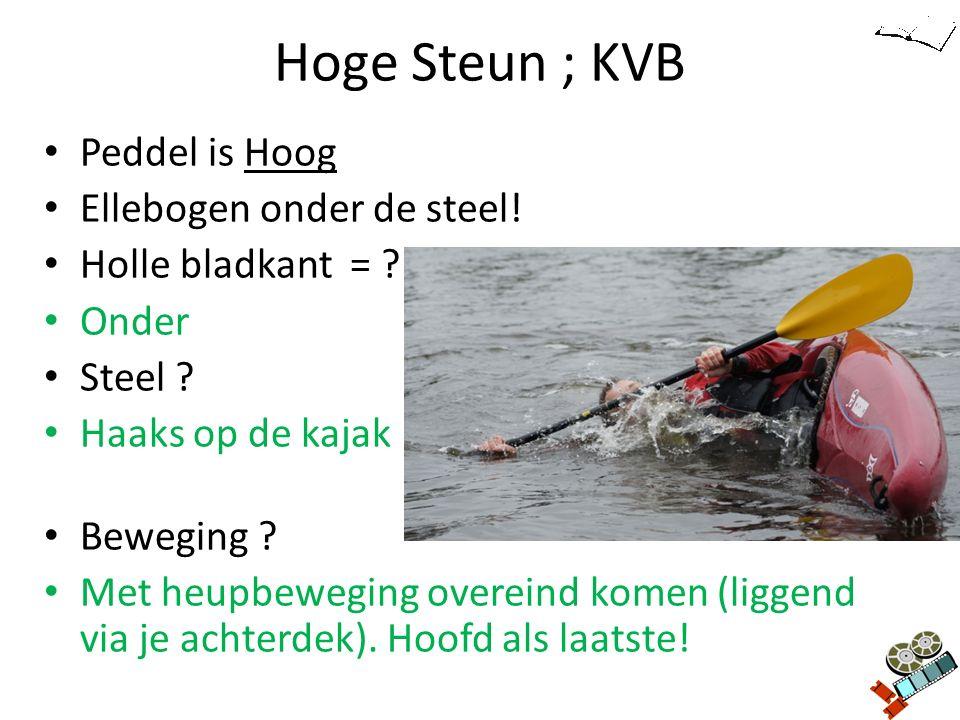 Hoge Steun ; KVB Peddel is Hoog Ellebogen onder de steel! Holle bladkant = ? Onder Steel ? Haaks op de kajak Beweging ? Met heupbeweging overeind kome