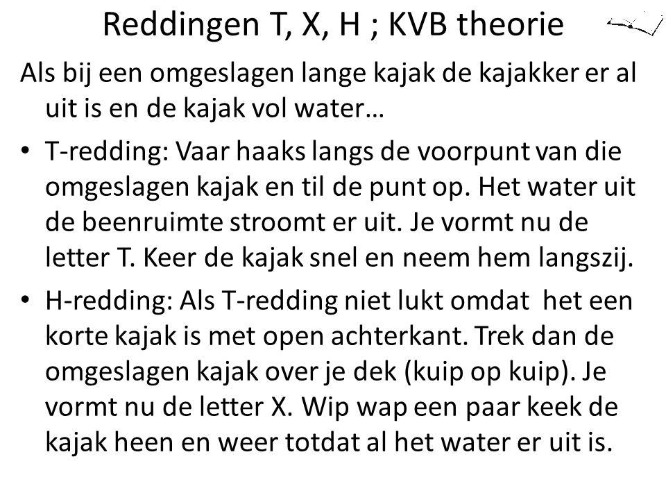 Reddingen T, X, H ; KVB theorie Als bij een omgeslagen lange kajak de kajakker er al uit is en de kajak vol water… T-redding: Vaar haaks langs de voor