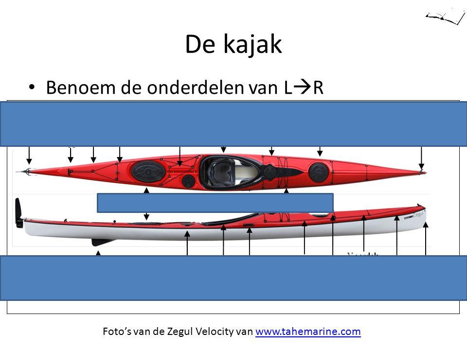 De kajak Benoem de onderdelen van L  R Opklapbaar roertje Foto's van de Zegul Velocity van www.tahemarine.comwww.tahemarine.com De Zeekajak